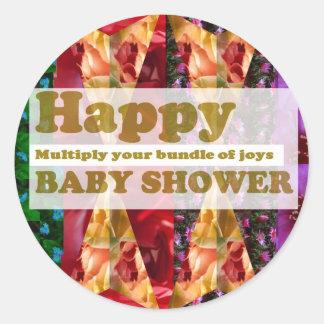 Lycklig BABY SHOWER Konstnärligt skriva n-dekora Rund Klistermärke