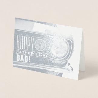 Lycklig bil för klassiker för fars dagpappa   folierat kort