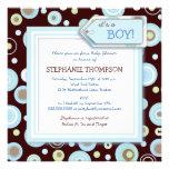 Lycklig blått pricker pojkebaby showerinbjudan inbjudan