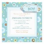 Lycklig blått pricker pojkebaby showerinbjudan personliga inbjudningskort
