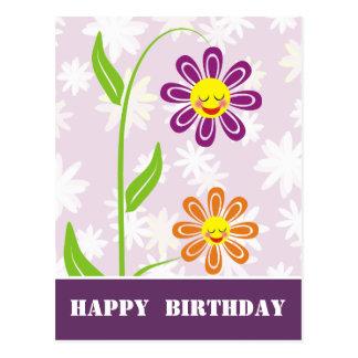 Lycklig blommar grattis på födelsedagenvykort vykort