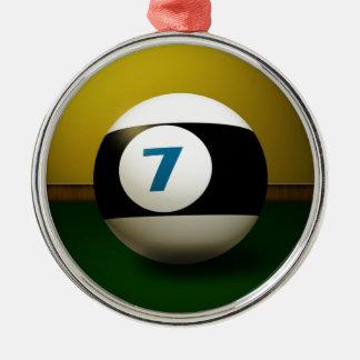 Lycklig boll för sju Billiard Rund Silverfärgad Julgransprydnad