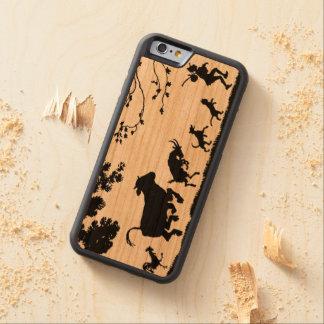 Lycklig bonde med djur höna, ko, get, hund carved körsbär iPhone 6 bumper skal