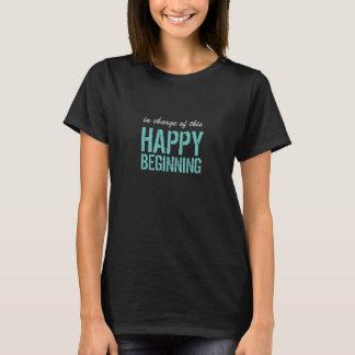 Lycklig början med beställnings- text t-shirt
