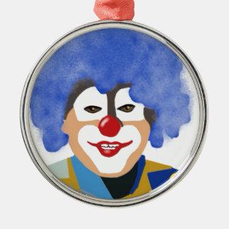 Lycklig clown rund silverfärgad julgransprydnad