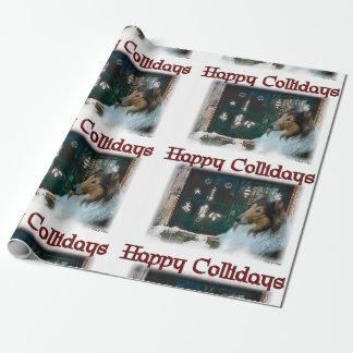 Lycklig Collidays för grov Collie jul Presentpapper