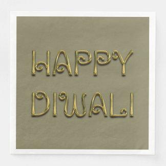 Lycklig Diwali Deepavali skina guld- typografi Servett