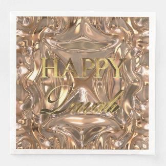 Lycklig Diwali festival av ljusguldtypografi Papper Servett