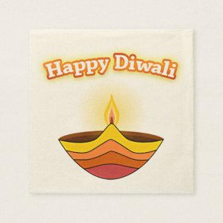 Lycklig Diwali och Diya lampa Pappersservetter