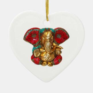 Lycklig DIWALI - Tacka dig GANAPATI Ganesh Julgransprydnad Keramik
