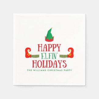 Lycklig Elfin helgdagarjul Pappersservett