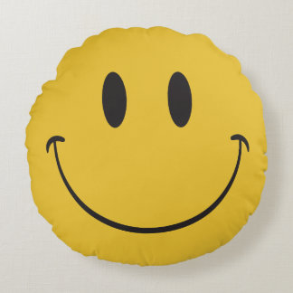 lycklig emoji rund kudde