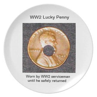 Lycklig encentmynt för plattor WW2 Tallrik