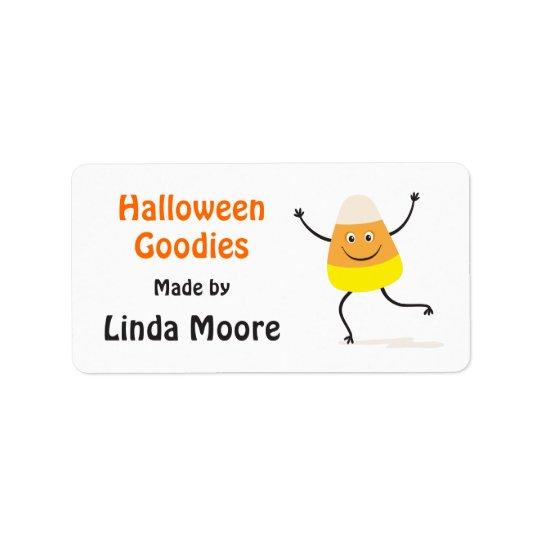 Lycklig etikett för candy cornteckenHalloween kök Adressetikett