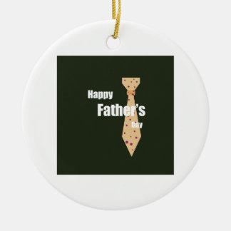 Lycklig fars dag rund julgransprydnad i keramik