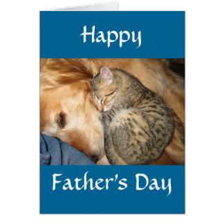 Lycklig fars dag - katt och hund hälsningskort