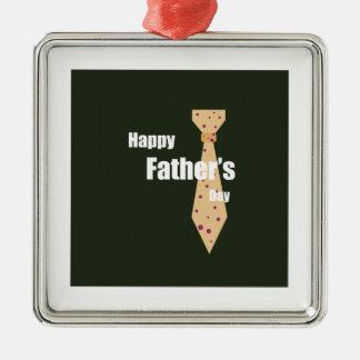 Lycklig fars dag silverfärgad fyrkantigt julgransprydnad