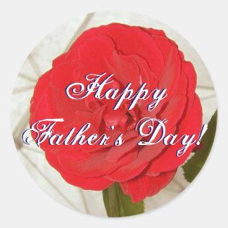 Lycklig fars dagröd ros rund klistermärke