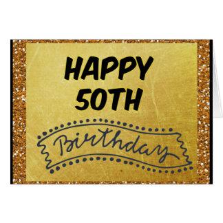 Lycklig femtionde födelsedag, 50th födelsedagkort hälsningskort