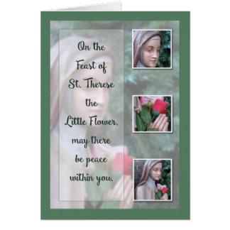 Lycklig festmåltid av St, Therese lite blomman Hälsningskort