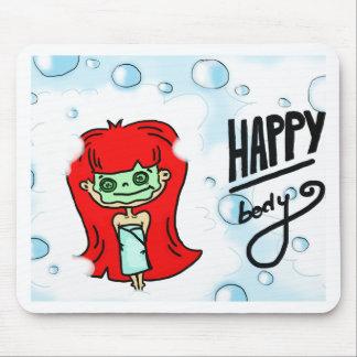 Lycklig förkroppsligar, & badet bubblar musmatta