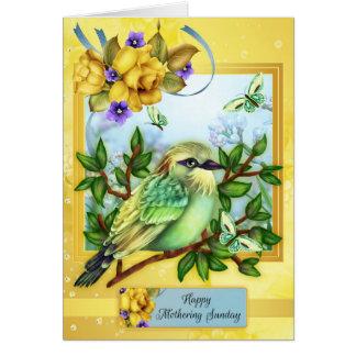 Lycklig fostra söndag, med fågelfjärilar hälsningskort
