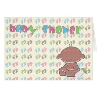 Lycklig fot baby showerinbjudan TBA 4-15-09 Hälsningskort