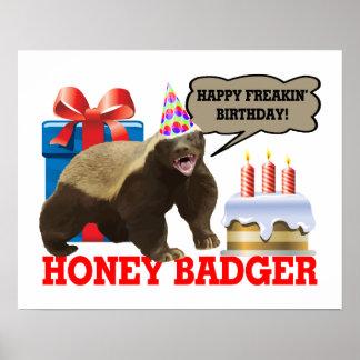 Lycklig Freakin för honey badger födelsedag Poster
