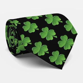 Lycklig fyrklöver svart bakgrund slips