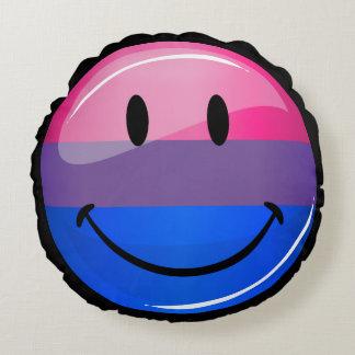 Lycklig glansig Bisexualityprideflagga Rund Kudde