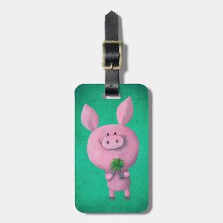 Lycklig gris med lyckligt fyrklövert luggage tags