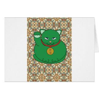 Lycklig grön katt hälsningskort