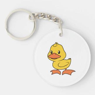 Lycklig gullig gul Duckling Dubbelsidigt Rund Akryl Nyckelring