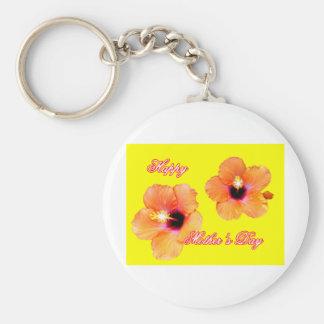 Lycklig gult bg för mors daghibiskusorange Met Nyckel Ring
