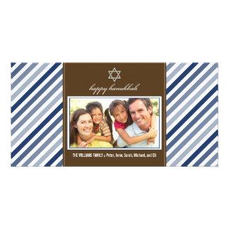 Lycklig Hanukkah bandfamilj Photocard (marinen) Fotokort
