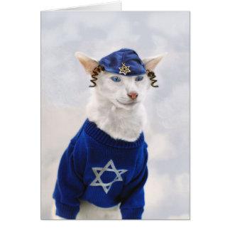 Lycklig Hanukkah katt med Payot och yarmulken Hälsningskort