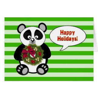 LYCKLIG HELGDAG - Pandabjörn - kran - humor Hälsningskort