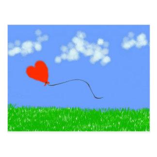 Lycklig hjärtaballong vykort