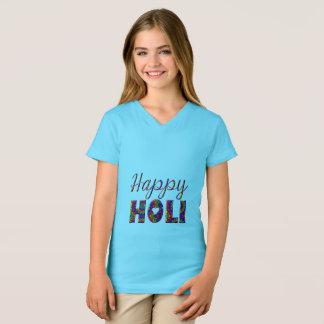 Lycklig Holi färgrik typografi Tee