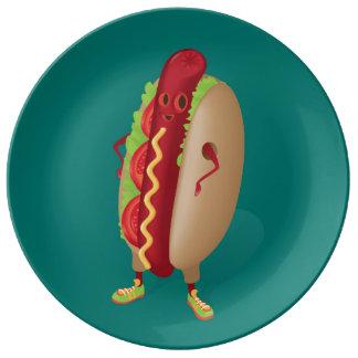 Lycklig Hotdog Porslinstallrik