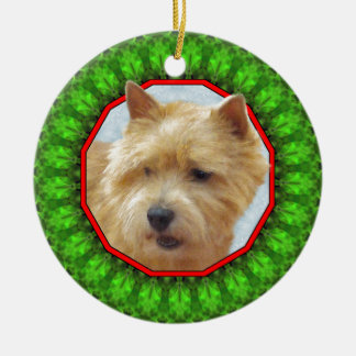 Lycklig Howliday för Norwich Terrier Julgransprydnad Keramik