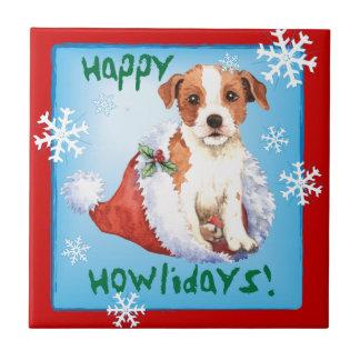 Lycklig Howlidays ParsonRussell Terrier Kakelplatta