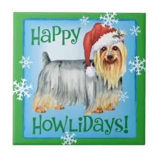 Lycklig Howlidays silkeslen Terrier Kakelplatta