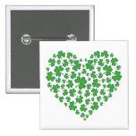 Lycklig irländsk Shamrockhjärta Knappar Med Nål