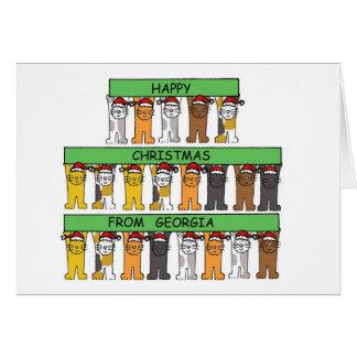 Lycklig jul för katter från Georgia. Hälsningskort