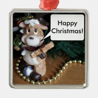 Lycklig jul från ren silverfärgad fyrkantigt julgransprydnad