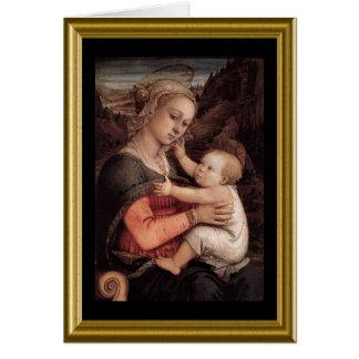 Lycklig jul - Madonna & barn Hälsningskort