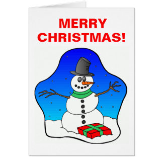 Lycklig julsnögubbe hälsningskort