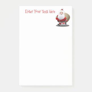 Lycklig jultomten med en säckfullt av gåvor post-it papper