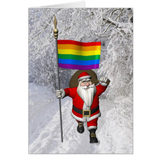 Lycklig jultomten med regnbågeflagga hälsningskort
